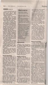Suresh Babu in Herald Tribune about Search Engines, Bradenton, FL, USA